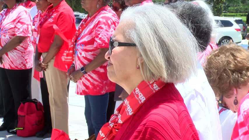A rally at the State Capital to support caregivers