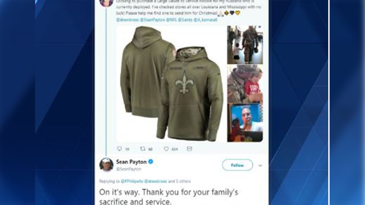 pretty nice 0f26e 1b742 Cannot stop shaking': Sean Payton sends military wife ...