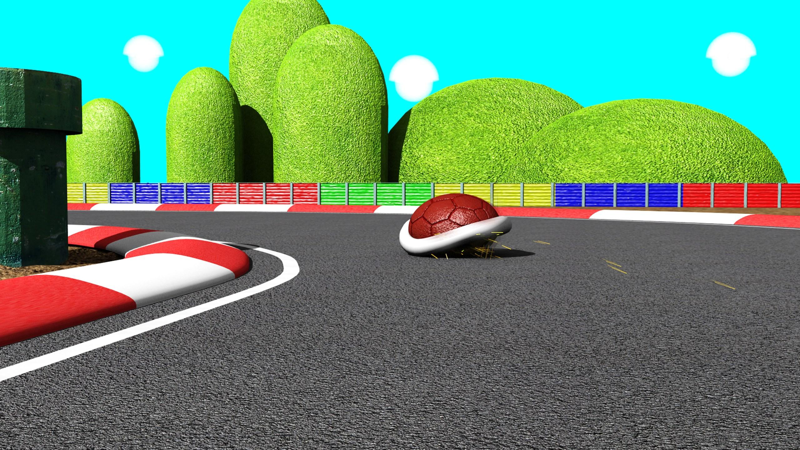 Red turtle in kart racing_1558569006184