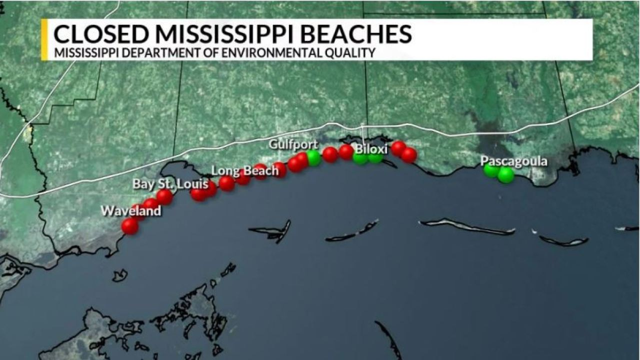 Update 4 More Beaches Closed In Mississippi Water Not Safe
