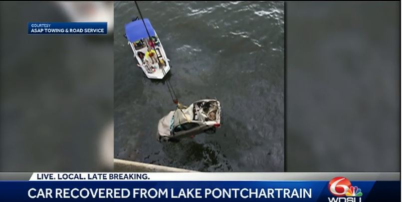 Three-vehicle wreck causes car to plunge into lake, driver