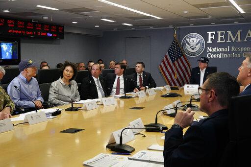 Donald Trump, Rick Scott, Elaine Chao, Alex Azar, Mark Esper, Kevin McAleenan
